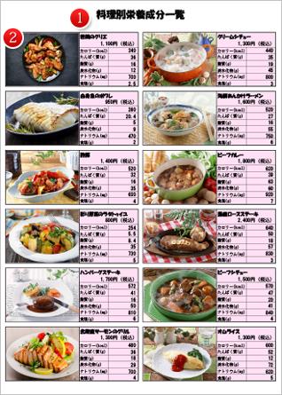 料理別栄養成分一覧
